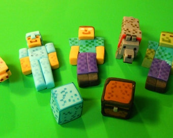 Inspired by Minecraft: Steve in Armor, Herobrine, Zombie & more Cake Topper Decorations