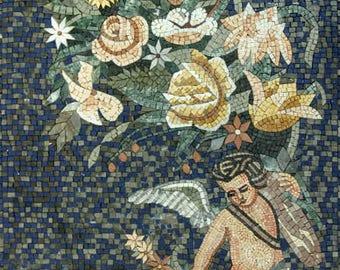 Cupid Flower Bouquet Wall Art Marble Mosaic FG514