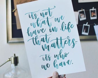 Watercolor Quote- Custom Hand Lettering
