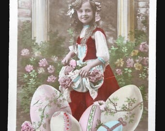 Easter gift, Pretty Vintage post card, french post card, Romantic style, girl, easter