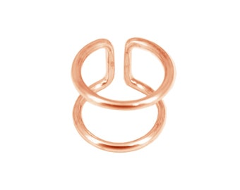 Ring sterling silver plated double rings rose gold