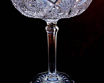 Tall Crystal Compote Bohemian Key Tray Elevated Shallow Tazza Cut Glass Comport