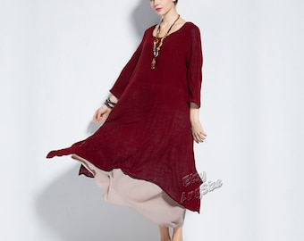 Anysize retro fake two piece soft linen & cotton dress plus size dress plus size tops plus size clothing Spring Summer dress clothing Y82