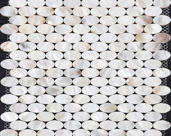 Mother of Pearl Tile with Base Natural Ellipse White Shell Mosaic Tile Backsplash Bathroom Shower Liner Wall Decor