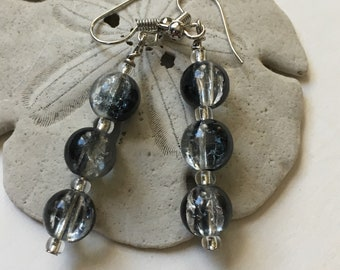 Black and Crystal Dangle Earrings - Handmade Jewelry - Gifts for Her - Ready to Ship