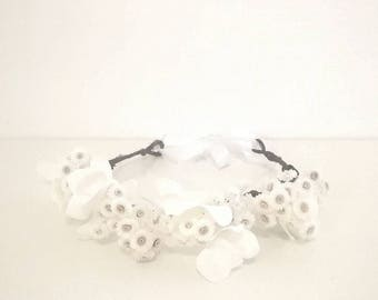white flower crown : dried and silk flowers - J&T accessories