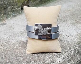 Bracelet 2 tours gris avec plaque à graver