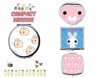 Rabbit compact mirror, makeup mirror, cosmetic mirror, portable mirror, double sided compact makeup mirror, purse mirror