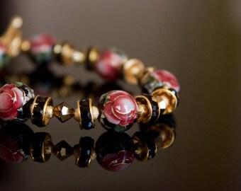 Black Rose Beaded Bracelet