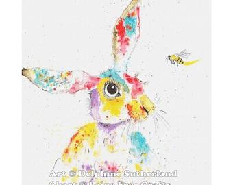 Rainbow Bunny - emailed PDF cross-stitch chart / pattern, original art by Delphine Sutherland