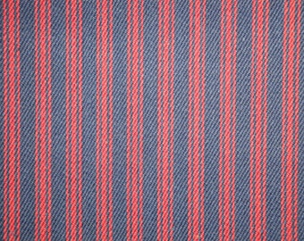Navy And Red Ticking Stripe Material | Striped Material | Cotton Ticking Material |  Home Decor Ticking Material | 54 Inches Wide
