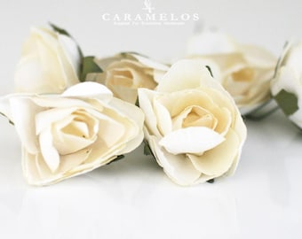 Set of 6 Large Ivory paper roses