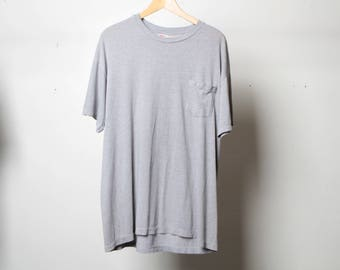 vintage POCKET faded sheer cozy HEATHER GREY faded oversize long t-shirt