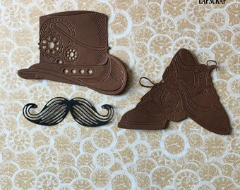 lot cutouts scrapbooking scrap Hat gear steampunk mustache cutout paper decoration die cut embellishment wedding shoes