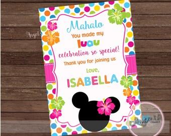 Minnie Mouse Luau Thank You Card, Minnie Mouse Luau Thank You Note, Minnie Mouse Luau Birthday Thank You Card, Digital File