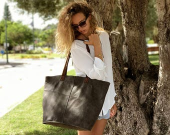 Sale!!! XL leather bag Extra large leather tote bag XL Leather tote bag in grey Extra large leather bag gray tote bag