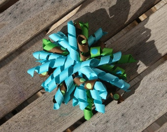 Hair Bow Clip - Corker Hair Clip with Turquoise, Green and Brown