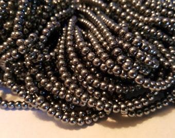 4mm Glass Pearls - Approx. 210 pcs - Gun Metal Gray Beads - Gray Pearls - 4mm Beads - Round - Dyed - Glass Pearl Beads