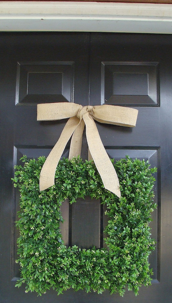 Square Boxwood Wreath- Artificial Boxwood Wreath with Burlap Ribbon- Spring Wreath for Door -Year Round Wreath- 20 INCH