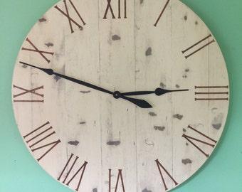 Farmhouse Wall Clock , Large Wall Clock ,Wall Clock , Wood Wall Clock, Handmade Wall Clock, Large Clock, Painted Wall Clock, Home Decoration