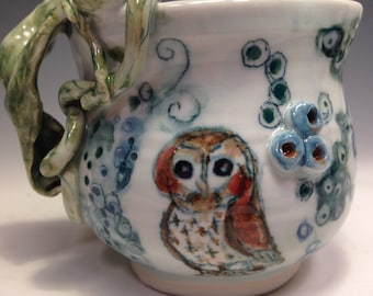 Blue Night Owls, hand painted Porcelain, a Berry Garden, Contemporary Functional Whimsical Vase