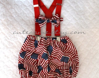 Smash Cake Outfit Boy Girl 1, 2, or 3 piece Flag Diaper Cover Bow Tie Suspenders First Birthday 1st Birthday 4th of July Photoshoot3