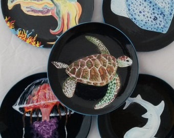 """Ocean plates sea life 8"""" plates turtle dish jellyfish plate shark spotted ray colorful marine sea creatures dish black plates coral reef art"""