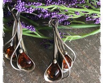 Long Delightful Baltic Amber Sterling Silver Dangle Flower Earrings