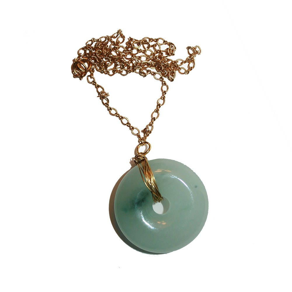 Vintage Wire Wrapped Jade Donut Necklace Carved Jade Jewelry