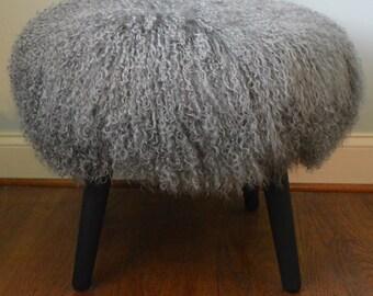 Mongolian Lamb Stool Mid Century Wood Legs New USA Made Tibet Lamb Fur Grey  Sheepskin Footstool