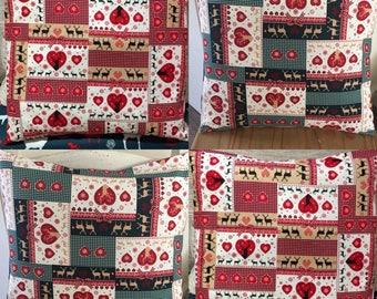 "4 x 16"" Decorative Shabby Chic Patchwork Love Heart/Reindeer"