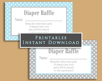 Light Blue and Gray Polka Dot Diaper Raffle Tickets INSTANT DOWNLOAD Printable Raffle Tickets DIY Boy Baby Shower Grey