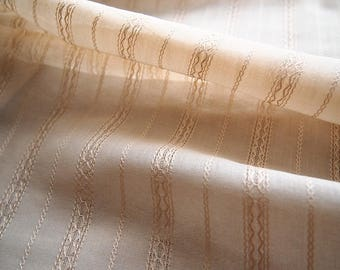 Beautiful fabric NET embroidered fine cotton beige 104 * 50 cm lace pattern