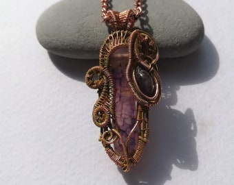 Agate and Amethyst - Wire Wrapped Pendant
