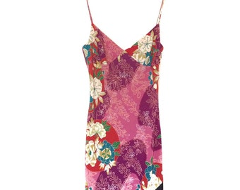 Japanese Kimono Style Pink Floral Print Beaded Dress | Size 12