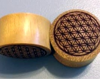 """Custom Handmade Organic """"Flower of Life"""" Wood Plugs  -- You choose wood type/color and size 7/16"""" - 30mm"""