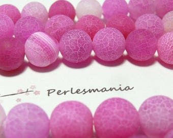 2 beads Crackle Agate effect Frost pink 12mm