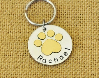 Personalized Dog Tag, Paw Print Dog Tag, Pet Id Tag, Pet Tag, Personalized Pet Id Tag, Cat Tag, Custom Pet Id Tag, Pet Accessories