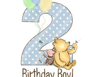 Classic Winnie the Pooh Dots Baby's 2nd Birthday Boy Digital Download iron-ons, heat transfer, Scrapbooking, Cards, Totes, DIY, YOU PRINT