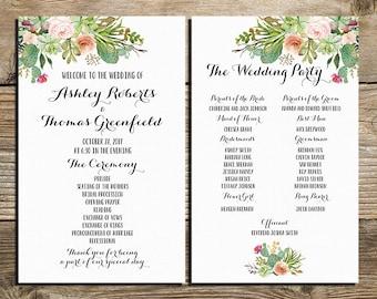 Programa de boda suculentas imprimibles, pastel de boda programa, programa Wild west, acuarela flores ceremonia programa para imprimir archivos digitales