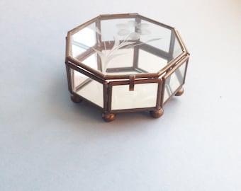 Glass Jewelry Box | Geometric Glass Box | Glass Terrarium | Vintage Jewelry Box | Made in Mexico