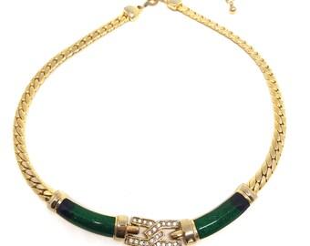 Vintage 1970s Gold Tone 'Textured Teardrop' Necklace