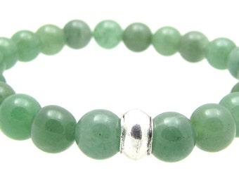 4th Chakra, Heart Chakra, Green Aventurine Gemstone Beaded, Elastic Stretch Bracelet, Chakra Balancing Energy Bracelet Jewelry