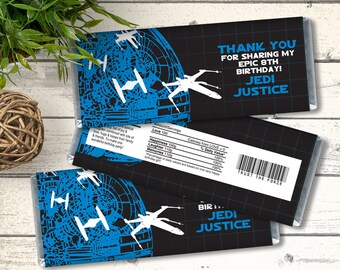 Star Wars Candy Bar Wrappers - Star Wars Birthday, Star Wars Favor, Party Favor    Editable Text - DIY Instant Download PDF Printable