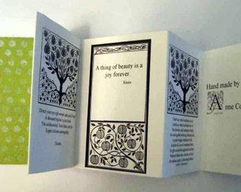 Accordion fold card, artist card, handmade card, quotation card, greeting card, special card, birthday card,