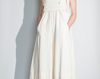 vintage 1970s cream cotton Laura Ashley apron pinafore dress UK10 EUR38