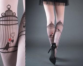 Tattoo Tights - Bird Cage Light Pink one size full length printed closed toe tights pantyhose, tattoo socks, bird, heart, love, romance