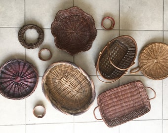 Dark Woven Wall Basket Set/10 Rustic Large Basket Wall Hanging | Rustic Home Decor