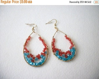 ON SALE Vintage Chunky Sparkling Colorful BOHO Gypsy Earrings 72216