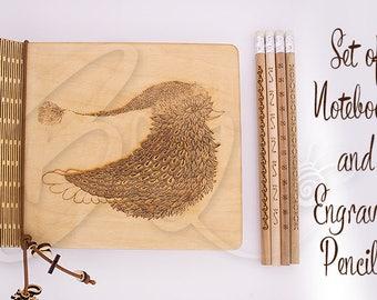 Heureux Bouvreuil naturel contreplaqué cahier et crayons gravés 4 ensemble